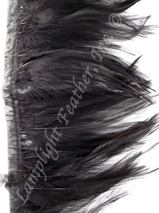 Feather Trim, HACKLE, Black, 3-5 inch, per yard