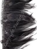 Feather Trim, HACKLE, Black, 3-5 inch, per yard