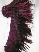 Feather Trim, SADDLE, Furnace dyed BURGUNDY, per yard
