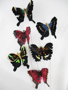 ARTIFICIAL BUTTERFLIES, NATURAL dark 3 inch,