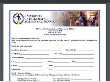 Student Assessment/Registration Form