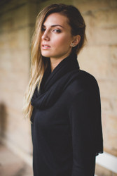 Bamboo Body Lightweight Bamboo Cashmere Wool Travel Wrap - Black
