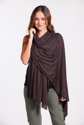 Bamboo Body Lightweight Bamboo Cashmere Wool Travel Wrap - Cacao
