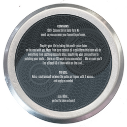 Solid Coconut Oil / Balm - back