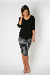 Bamboo Body Ruched Bamboo Skirt - Black
