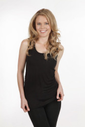 Bamboo Body Ruched Singlet - Black