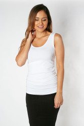 Bamboo Body Ruched Singlet - White & Yellow Stripe