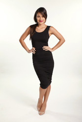 Bamboo Body Ruched Tank Dress - Black
