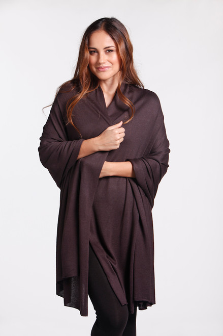 Bamboo Body Bamboo Cashmere Wool Travel Wrap - Cacao