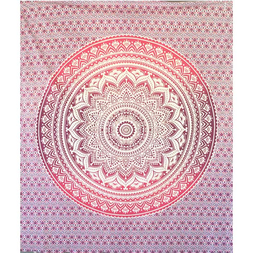 Goddess Mandala Throw - Queen Size Pink to Purple Ombre