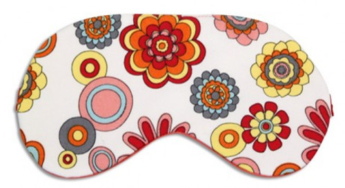 Chris Notti Silk Sleep Mask: Floral Tangerine with Earplugs