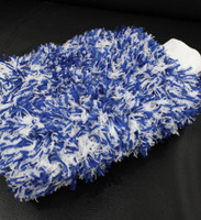 Deluxe Fluffy Microfibre Wash Mitt Blue & White