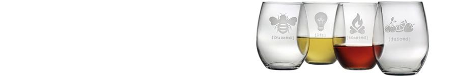 Tipsy stemless glassware