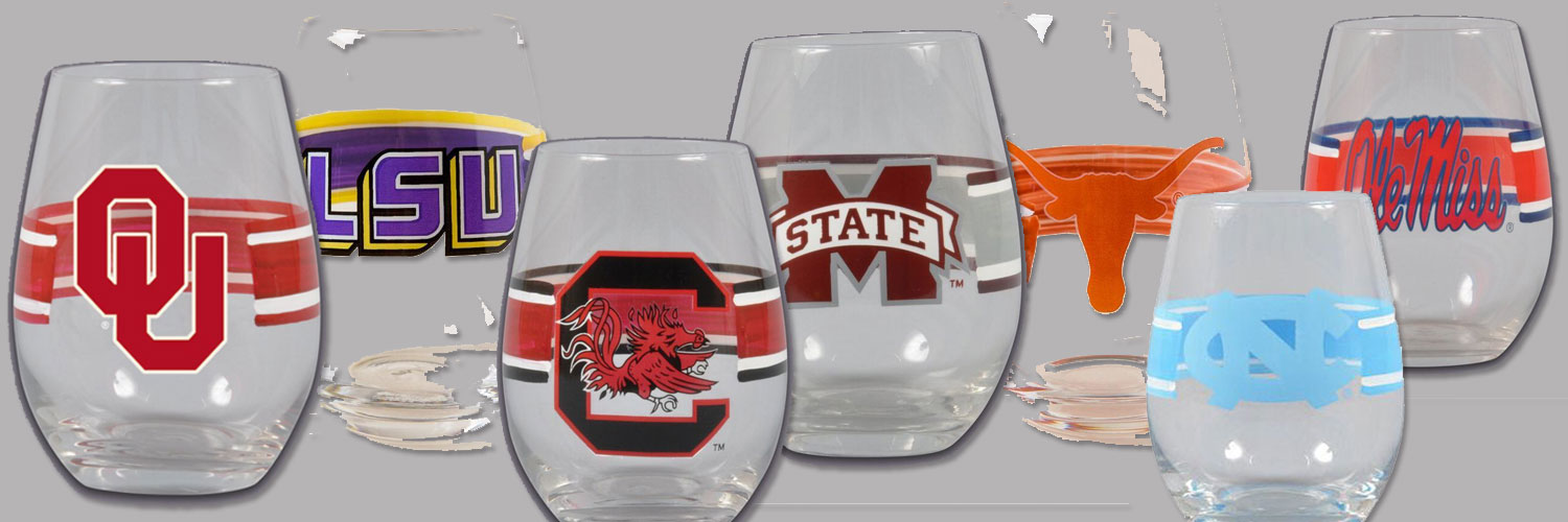 College football team logo stemless wine glass