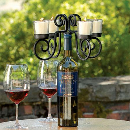 Votive Wine Bottle Candelabra