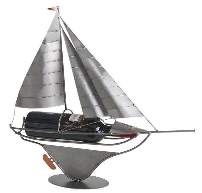 Sailboat Steel Sculpture Wine Bottle Holder