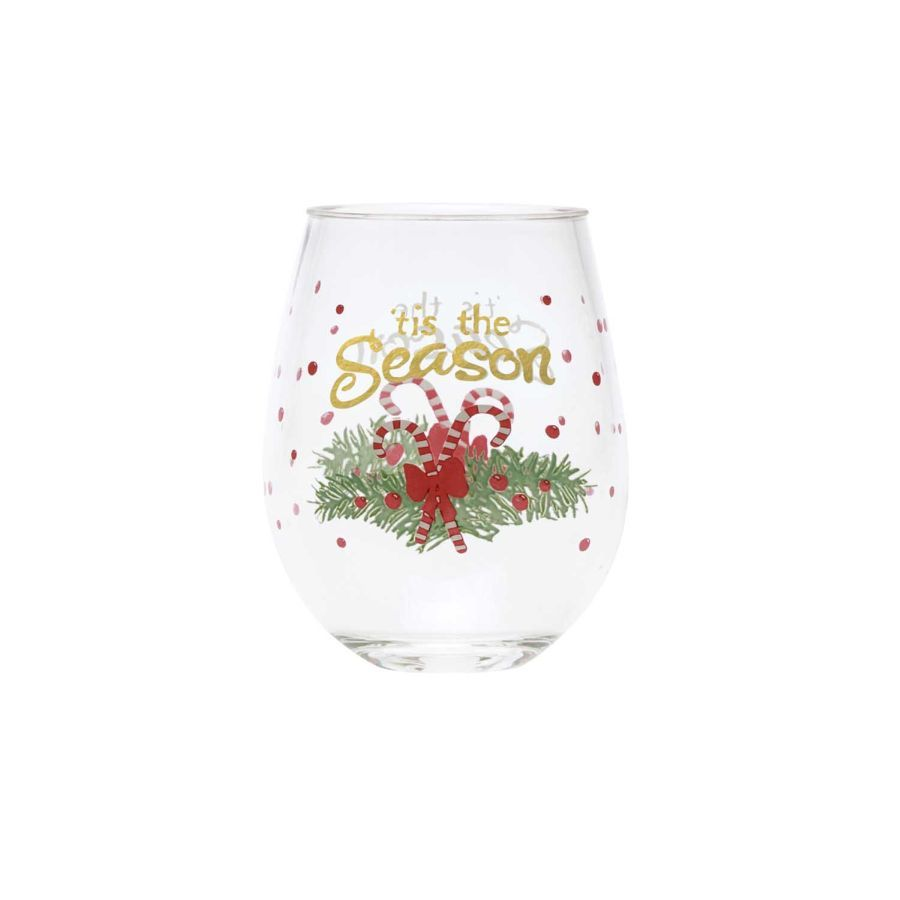 'Tis the Season Acrylic Stemless Wine Glass by Lolita