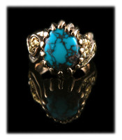 Men's Gold Nugget and Bisbee Turquoise Ring