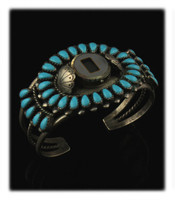 Navajo Cluster Watch Bracelet with Sleeping Beauty Turquoise