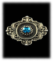 Blue Topaz and Silver Pin or Broach