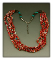 Four Strand Spiny Oyster Shell Bead Necklace