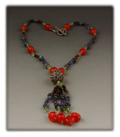 Multi Color Gemstone and Silver Bead Necklace