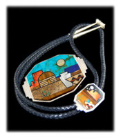 Day and Night Pictorial Inlay Bolo and Belt Buckle Set