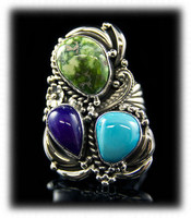 Carico Lake Turquoise and Sugilite Womens Turquoise Ring