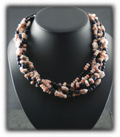 Black Onyx And Rhyolite Fashion Bead Necklace