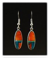 Oval Multi Color Inlay Drop Earrings