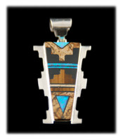 Earth Tone Native American Inlay Silver Pendant