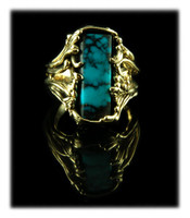 Rectangular Paiute Turquoise Gold Ring