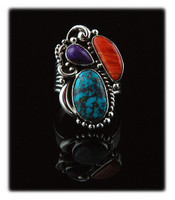 Handmade Sterling Silver Cocktail ring for women with Red Skin Turquoise, Spiny Oyster Shell, and Sugilite