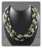 Multi Strand Lime Turquoise Black Onyx Bead Necklace