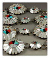 Vintage Sunface Zuni Inlay Concho Belt