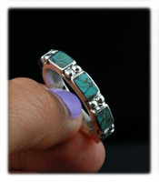 Five Stone Tibetan Turquoise Ring