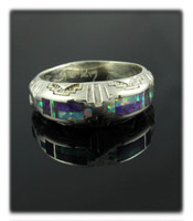 Southwestern Sugilite and Opal Inlay Band Ring