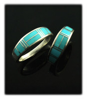 Wedding Band Ring with Inlay Turquoise Set