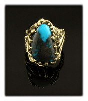 14k Gold and Deep Blue Bisbee Turquoise Ring