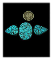 Beautiful Three Stone Set - Kingman Black Spiderweb
