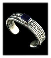 Greek Key Sugilite Cuff Bracelet
