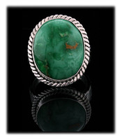 Large Oval Green Variscite Ring
