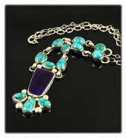 Fox Turquoise and Sugilite Cleopatra Necklace