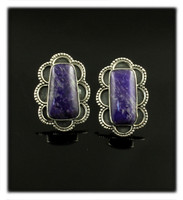 Silver Stud Earrings with Purple Sugilite