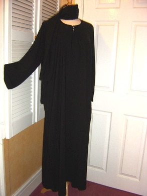 2 Piece Saudi Black Abaya Jilbab Long Dress & Scarf