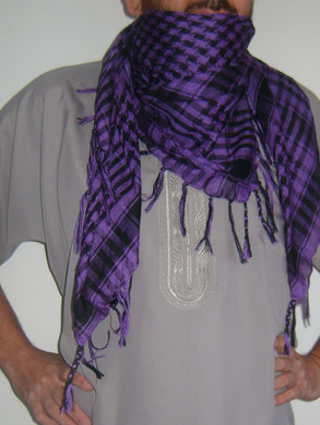 Purple with Tassels Shemagh Scarf