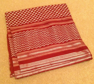 Maroon and Silver Shemagh Scarf