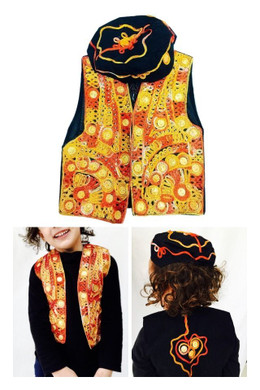 2 Piece Orange Bolero Boys Fancy Kameez Eid Party Pakistani Waistcoat Hat Cap