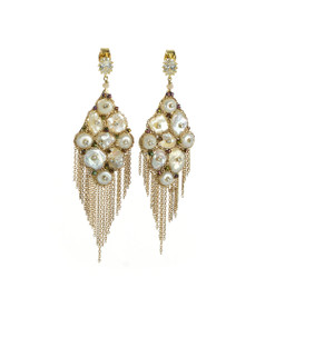 Burney Falls - Pearl Earrings, CZ stud dangle earrings Hand set freshwater Keshi pearls inset with delicate Swarovski crystals and draping fine brass chain, and a Friction back