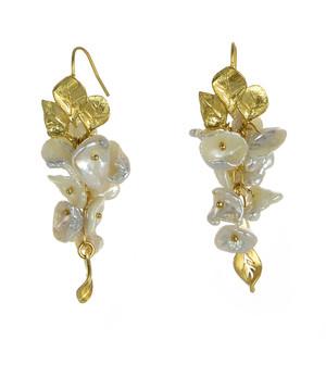 """Garima - Pearl Earrings, zoom on Garima earrings, French wire dangle keshi freshwater pearl earrings set in brass, 1.5"""" in  length."""
